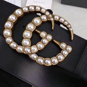 Gucci Womens double G classy pearl belt